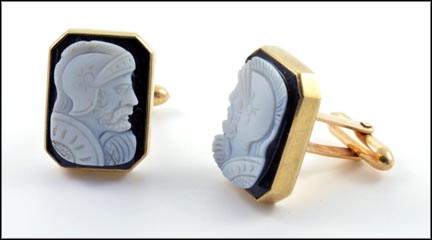 Carved Agate Cufflinks in 14K Yellow Gold LARGE