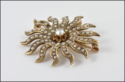 1890's Seed Pearl Sunburst Pin or Pendant in 10K Yellow Gold