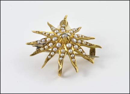 Seed Pearl Sunburst Brooch or Pendant in 14K Yellow Gold