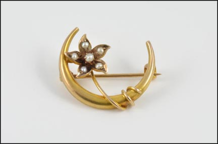 Crescent Moon and Seed Pearl Pin in Yellow Gold