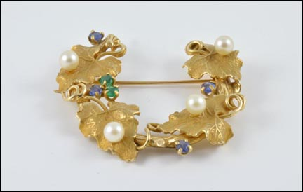 Emerald, Sapphire and Pearl Brooch in 14K Yellow Gold