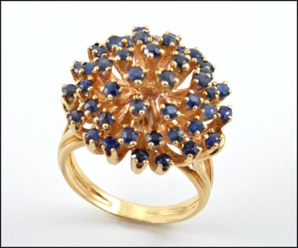 Sapphire Cluster Ring in Yellow Gold