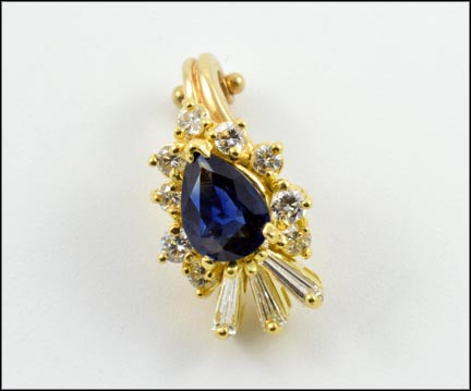 Pear Shaped Sapphire Enhancer in 14K Yellow Gold