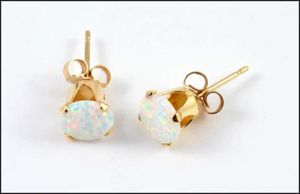 Round Opal Stud Earrings in 14K Yellow Gold