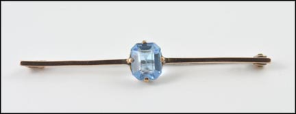 Blue Glass Brooch in 9K Yellow Gold