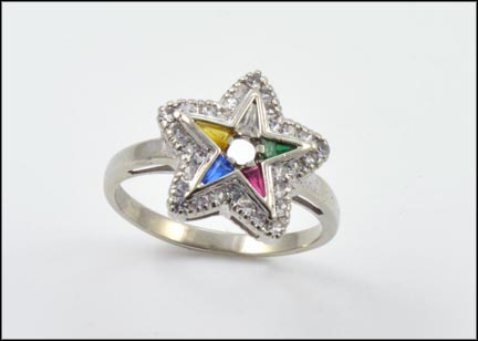 Ladies Eastern Star Ring in White Gold