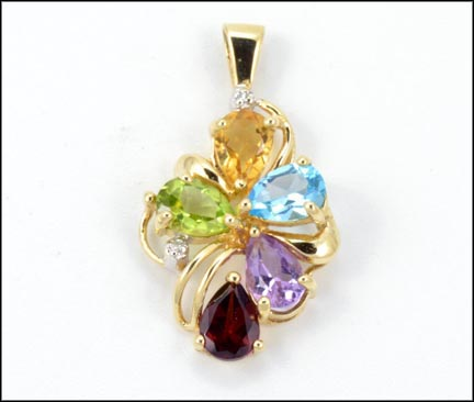 Citrine, Amethyst, Topaz, Garnet and Peridot Pendant in 10K Yellow Gold