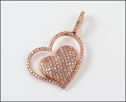 Pave' Heart Pendant in 10K Rose Gold