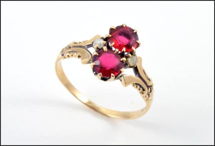 Victorian Red Glass Ring in 10K Yellow Gold