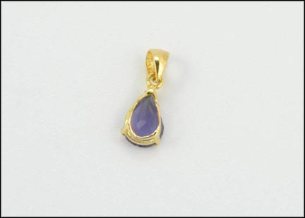 Pear Shaped Bezel Iolite Pendant in 14K Yellow Gold