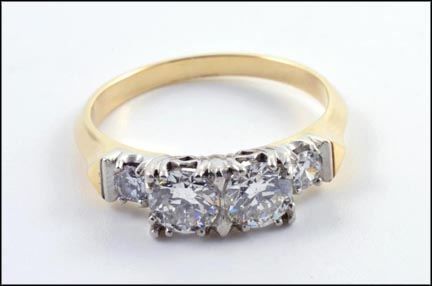 Two Center Round Brilliant Cut Diamond Ring in Platinum and 14K Yellow Gold LARGE
