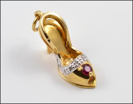 Ruby and Diamond Stiletto Heel Charm or Pendant in 14K Yellow Gold