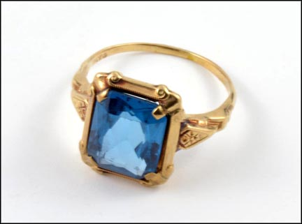 Synthetic Blue Stone Ring in 10K Yellow Gold