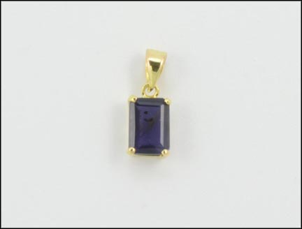 Emerald Cut Iolite Pendant in 14K Yellow Gold