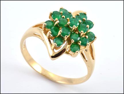 Emerald Cluster Ring in 14K Yellow Gold