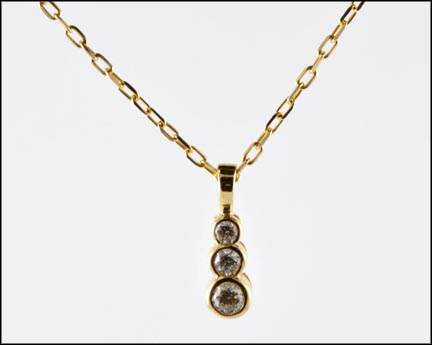 Three-Stone Bezel Pendant in 14K Yellow Gold