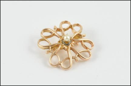 Seed Pearl Scroll Brooch in 10K Yellow Gold