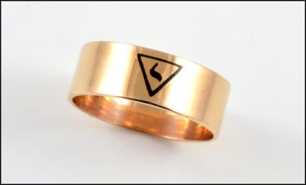 Men's Wide Masonic Band in 10K Yellow Gold