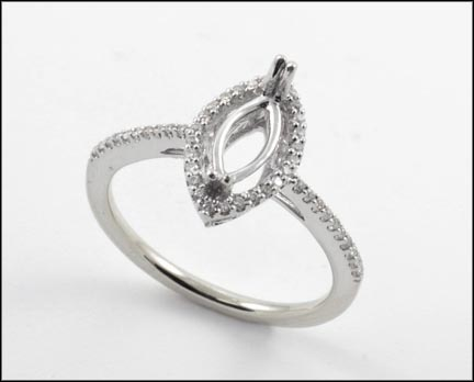 Marquise Cut Semi-Mount Ring in White Gold