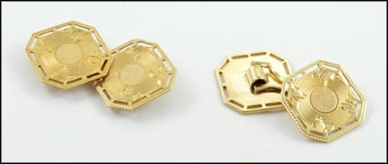 1930's Cufflinks in 10K Yellow Gold LARGE