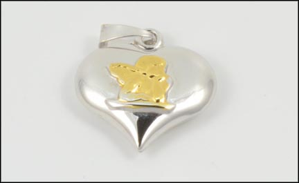 Puffed Heart Pendant in 18K Yellow and White Gold