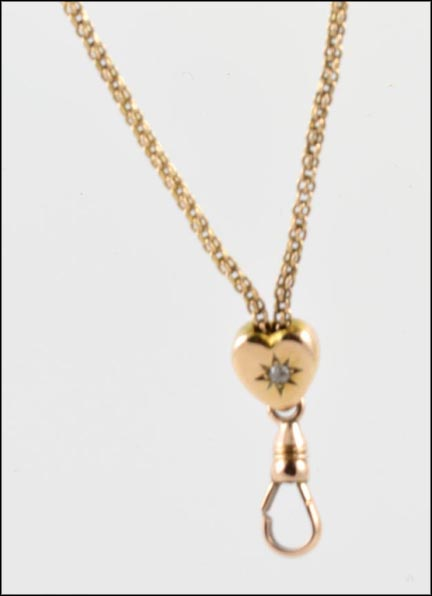 1880's Heart Watch Chain in 14K Yellow Gold