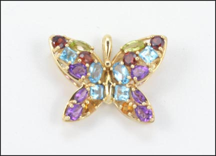 Multi-Stone Butterfly Pendant in 10K Yellow Gold