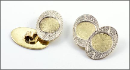 1930's Engraved Cufflinks in 10K Yellow and White Gold LARGE