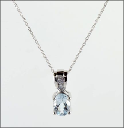 Oval Topaz Necklace in 10K White Gold