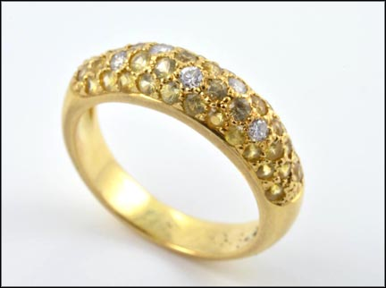 Yellow Sapphire Pave' Ring in 18K Yellow Gold