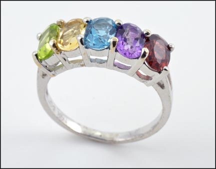 Oval Cut Peridot, Citrine, Blue Topaz, Amethyst and Garnet Ring in 14K White Gold