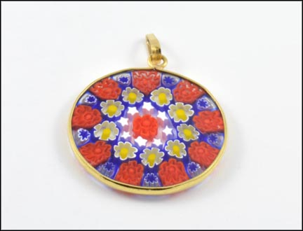 Millefiore Round Pendant in 16K Yellow Gold