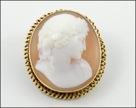 Cameo Pendant or Brooch in Yellow Gold