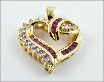 Ruby Heart Pendant in 14K Yellow Gold