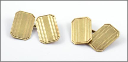 1925-1930 Rectangle Cufflinks in 14K Yellow Gold