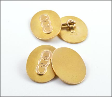 Men's Cufflinks with Three Circles in 10K Yellow Gold