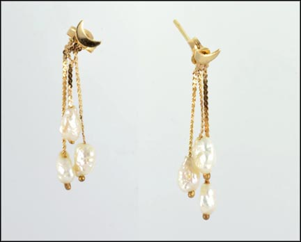 Freshwater Pearl Drop Earrings in 14K Yellow Gold