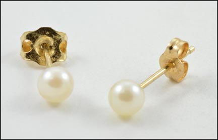 4 mm Pearl Stud Earrings in Yellow Gold LARGE