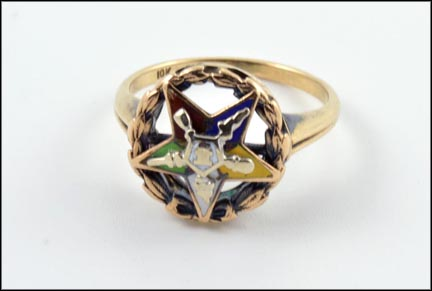 Ladies Eastern Star Ring in 10K Yellow Gold