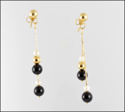 Pearl, Onyx and Gold Ball Drop Earrings in 14K Yellow Gold