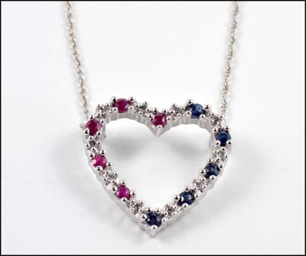 Ruby and Sapphire Heart Pendant in 10K White Gold