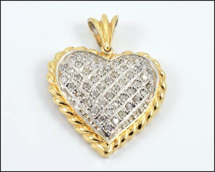 Heart Pendant in 14K Yellow and White Gold
