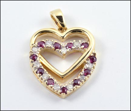 Ruby and Diamond Double Heart Pendant in 14K Yellow Gold LARGE