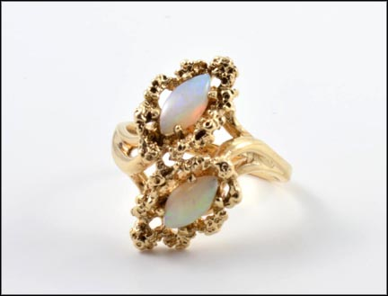 1960's Marquise Cut Opal Ring in 10K Yellow Gold
