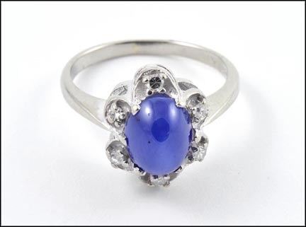 Linde' Blue Star Sapphire Ring in 14K White Gold