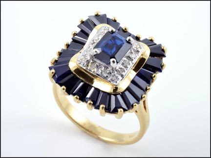 Iolite and Diamond Ring in 14K Yellow Gold