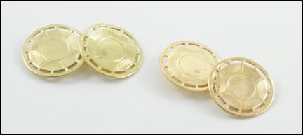 1930's Round Cufflinks in 10K Yellow Gold