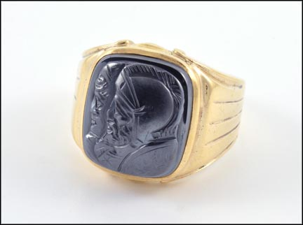 Men's Hematite Cameo Ring in Yellow Gold LARGE