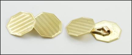 1940's Patterned Cufflinks in 10K Yellow Gold LARGE