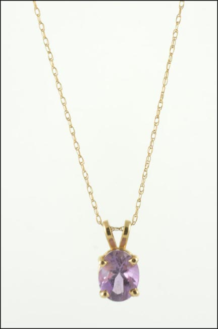 Oval Amethyst Pendant in 10K Yellow Gold LARGE
